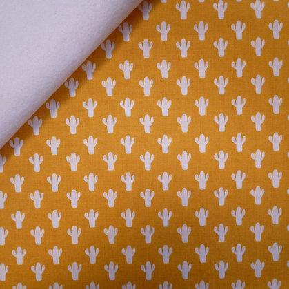 Fabric Felt :: Azure Skies :: Mustard Cactus on White
