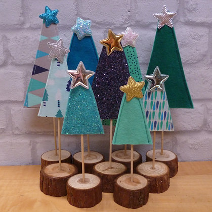 Set of 3 handmade trees with stands