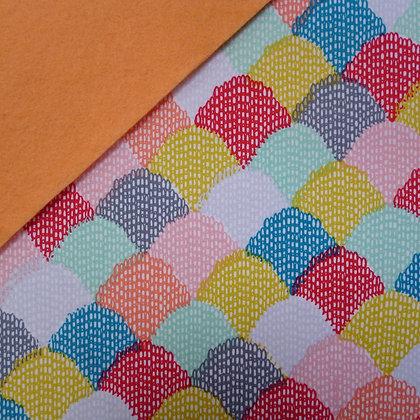 Fabric Felt :: Hipster Teal Scallop on Peach