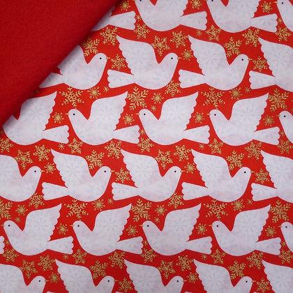 Fabric Felt :: Skogen :: Doves on Red