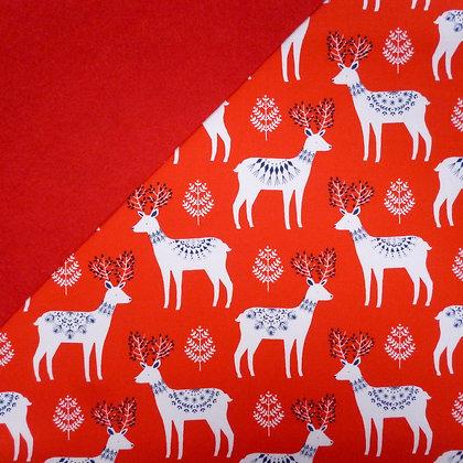 Fabric Felt :: Winter Wonderland Deer on Red LAST FEW