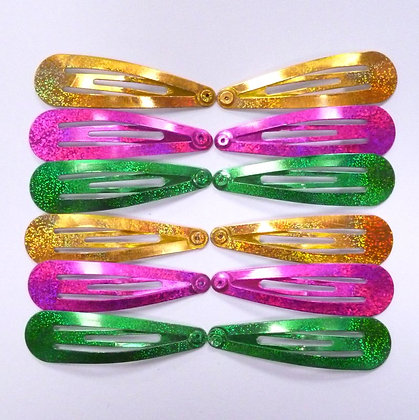 Colourful Hair Clips (x12) :: Gold, Green & Pink