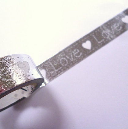 Washi Tape Roll :: Love on Silver