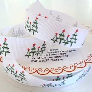 Bertie Bows Ribbon :: Christmas Trees on White