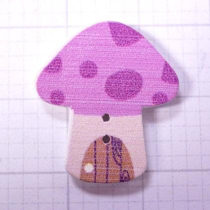 Wooden Mushroom Button :: Purple