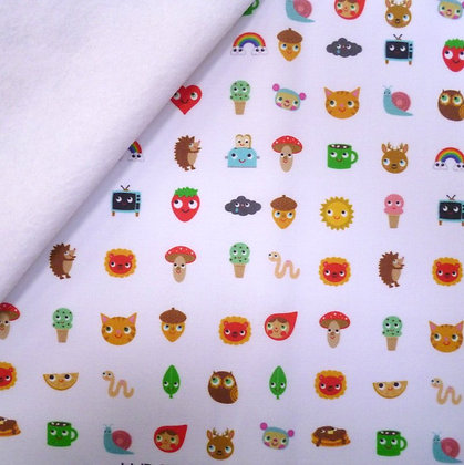 Artisan Fabric Felt :: Cute kawaii on White