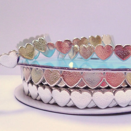 Cut Out Ribbon :: Flat Hearts :: Silver