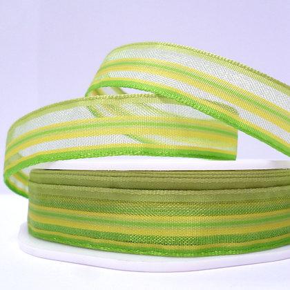 Sheer Stripe Ribbon :: Lime & Yellow