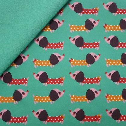 Artisan Fabric Felt :: Polka Dot Sausage Dogs on Sea Green