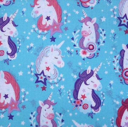 Fabric :: Unicorn Kisses :: Turquoise Unicorn