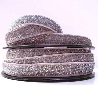 Lurex Glitter Elastic :: 15mm :: Dark Silver