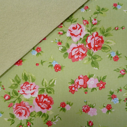 Fabric Felt :: Green Chintz Rose on Pistachio