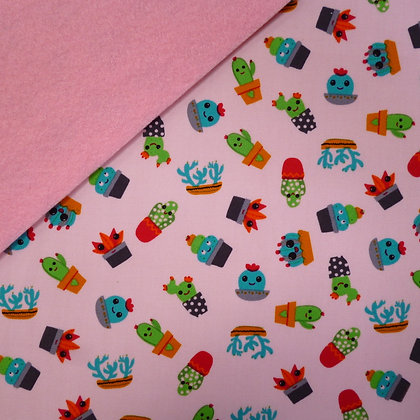 Fabric Felt :: Pink Cute Cactus on Baby Pink