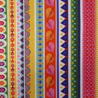 Fabric :: Forever Magic :: Multi Rainbow Folk Stripes