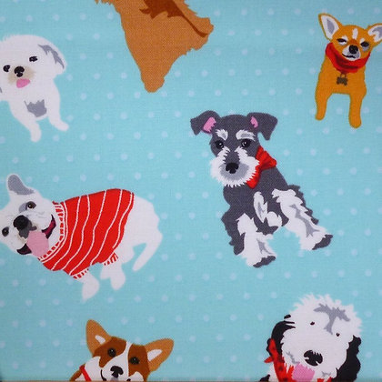 Fabric :: Must Love Dogs :: Aqua Polka Dots