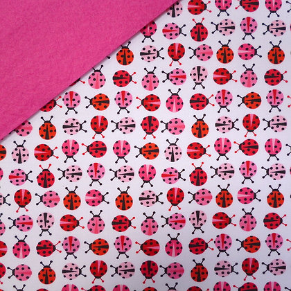 Fabric Felt :: Zoologie Ladybirds on Candy Pink