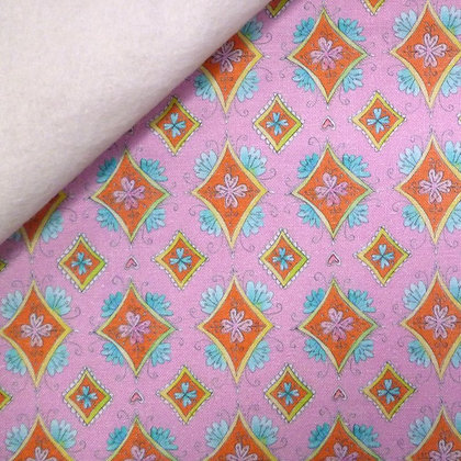Fabric Felt :: Waltz of Whimsy :: Pink Charmed Diamonds on Natural