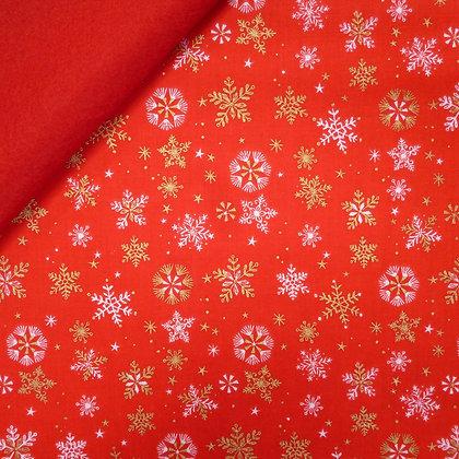 Fabric Felt :: Skogen :: Gold Snowflake on Red