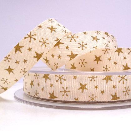 2017 Cotton Christmas Ribbon :: Gold Stars on Natural