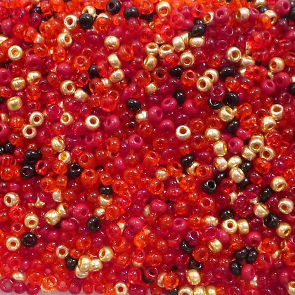 Seed bead mix :: Red & Gold