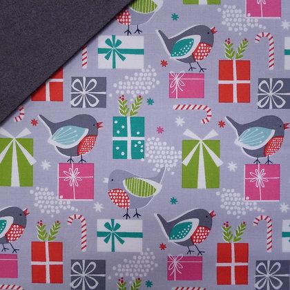 Fabric Felt :: Christmas Dreams Robin & Presents on Charcoal