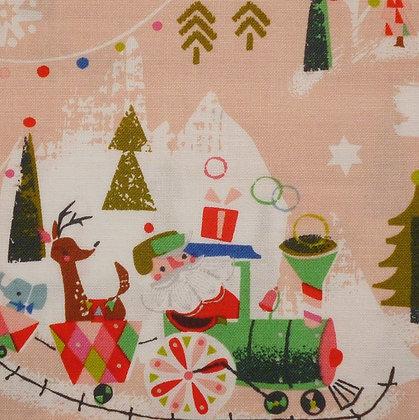 Fabric :: Way Up North :: Santa's Train :: Peach