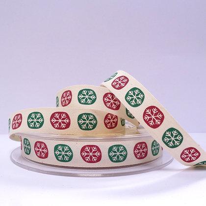 Cotton Christmas Ribbon :: Red & Green Snowflakes