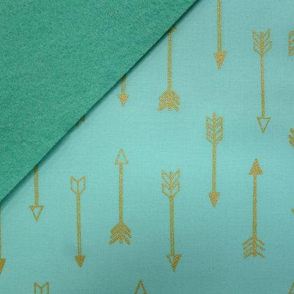LAST FEW Fabric Felt :: Metallic Aqua Gold Arrows on Sea Green