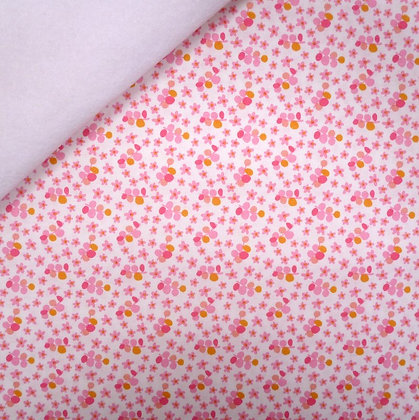 Fabric Felt :: Forget Me Not :: Tiny Pink Flower on White