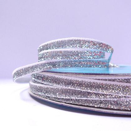 5mm Glitter Velvet Ribbon :: Silver