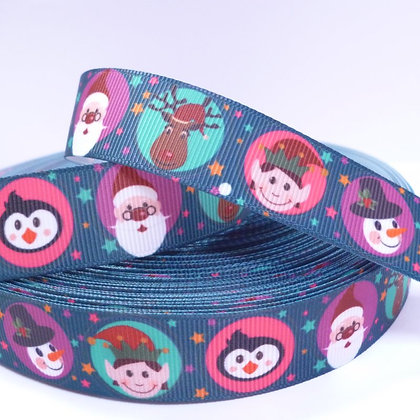 Christmas Grosgrain Ribbon :: Characters on Navy