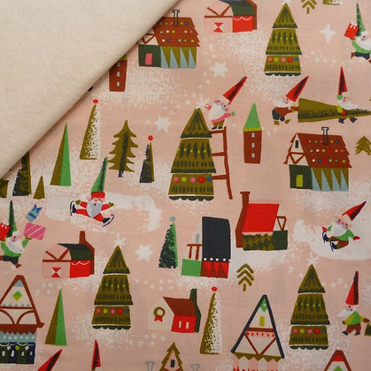 Fabric Felt :: Way Up North :: Elf Houses Peach on Natural