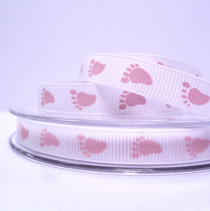 Baby Feet Grosgrain Ribbon :: white with pink feet