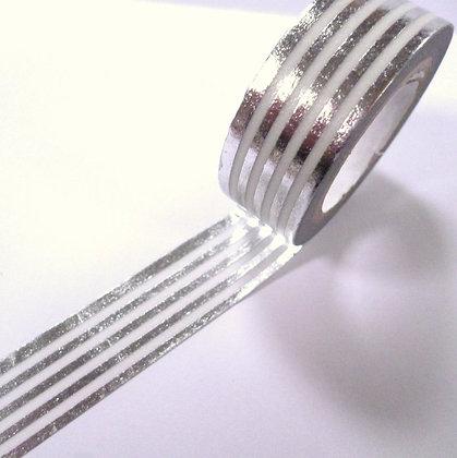 Washi Tape Roll :: Silver Stripes