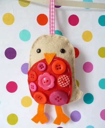 Handmade Mini Christmas Decoration :: Button Robin