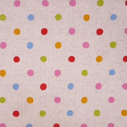 Fabric :: Cotton Linen :: Rainbow Dots