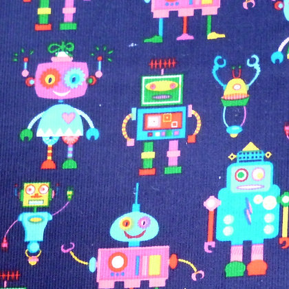 Fabric :: Corduroy :: Robots on Navy