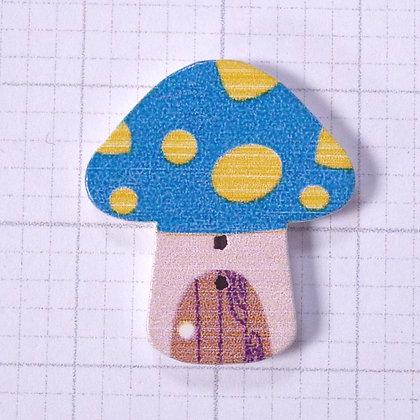 Wooden Mushroom Button :: Blue & Yellow
