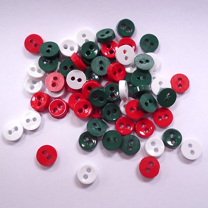 Pack of extra tiny 2 holes :: Red & Green Christmas