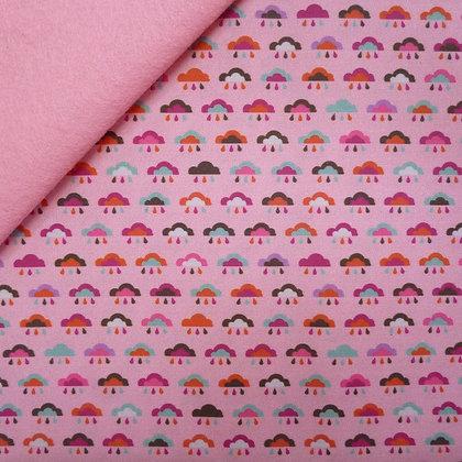 Artisan Fabric Felt :: Pink Rainbow Clouds on Baby Pink