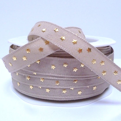 Cotton & Stars Ribbon :: Biscuit + Gold Stars