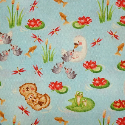 Fabric :: Hugs & Love :: Swans & Otters
