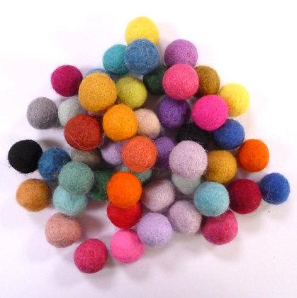 1.5cm Felt Ball Packs :: Multi Coloured (48x 1.5cm balls)