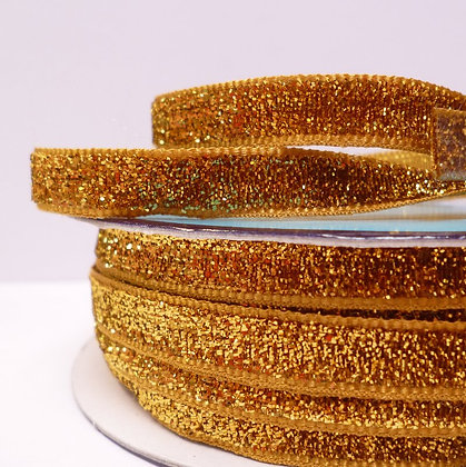 10mm LUXURY Glitter Velvet Ribbon :: Gold