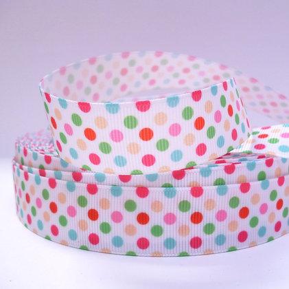 Pattern Grosgrain Ribbon :: Dots on White