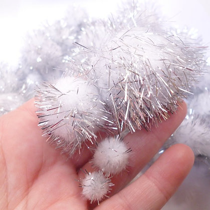 Box of Pom Poms :: Silver Glitter