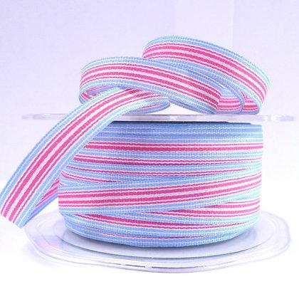 """3/8"""" Stripe Ribbon :: Pink & Blue"""