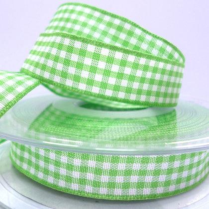 SALE 15mm gingham ribbon  :: Bright Green