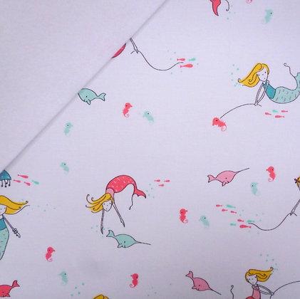 Fabric Felt :: Saltwater Mermaids on White