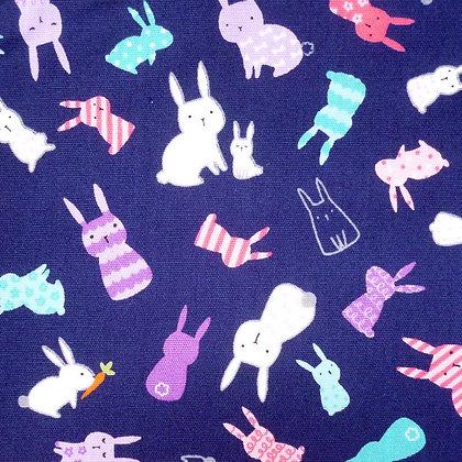 Fabric :: Pastel Rabbits Navy